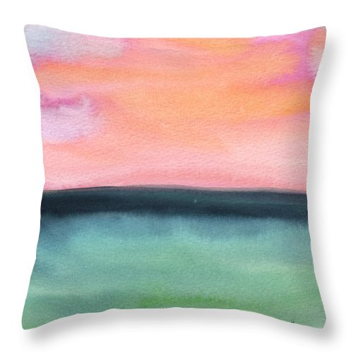 Sea Throw Pillow featuring the painting Whispy Pink/organge Sky by Mickey Krause