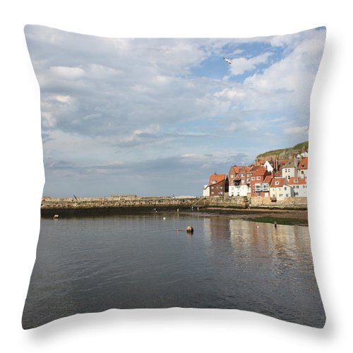 Whitby Throw Pillow featuring the photograph Whitby Abbey N.e Yorkshire by Jean Walker