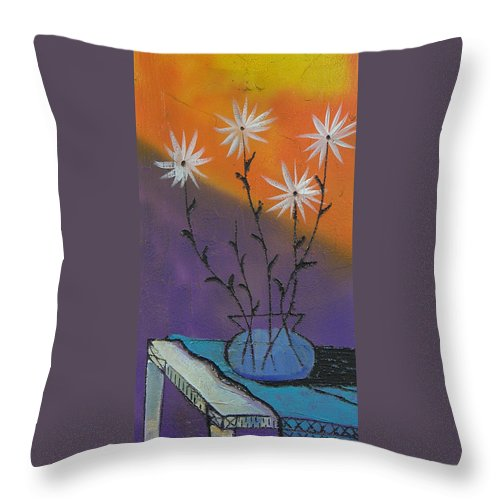 Flowers Throw Pillow featuring the painting White Asters by Ken Blacktop Gentle