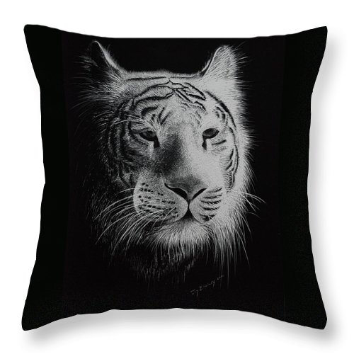 Greeting Cards Throw Pillow featuring the painting White Bengal Tiger by Joy Bradley