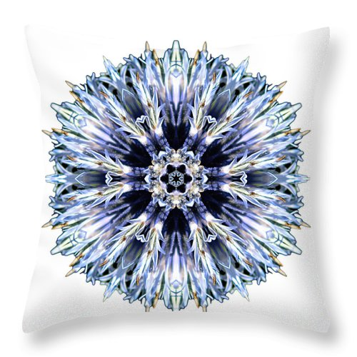 Flower Throw Pillow featuring the photograph Blue Globe Thistle I Flower Mandala White by David J Bookbinder
