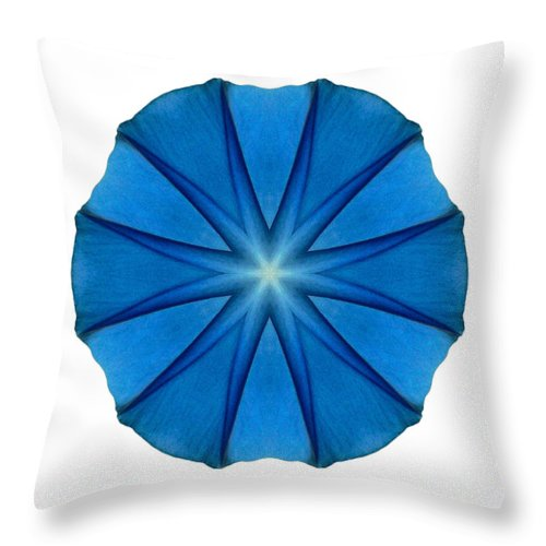 Flower Throw Pillow featuring the photograph Blue Morning Glory II Flower Mandala White by David J Bookbinder