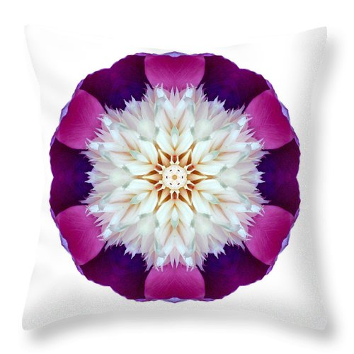 Flower Throw Pillow featuring the photograph Bowl Of Beauty Peony II Flower Mandala White by David J Bookbinder