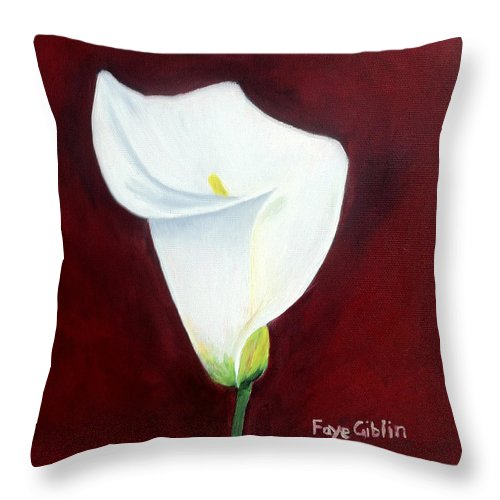 White Calla Lily On Deep Red Throw Pillow For Sale By Faye Giblin