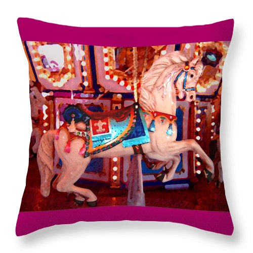 Horses Throw Pillow featuring the painting White Carousel Horse by Amy Vangsgard