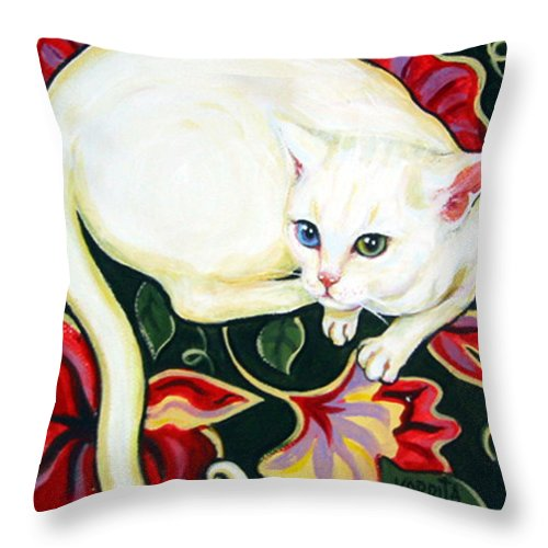 Art Throw Pillow featuring the painting White Cat On A Cushion by Rebecca Korpita