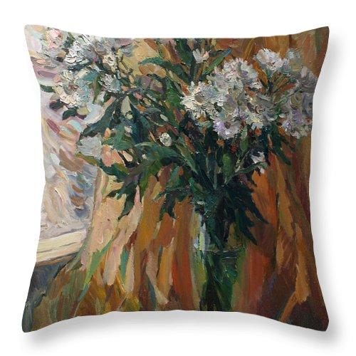 Chrysanthemums Throw Pillow featuring the painting White Chrysanthemums by Juliya Zhukova