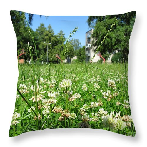 Landscape Throw Pillow featuring the photograph White Clover Field And The Playground by Ausra Huntington nee Paulauskaite