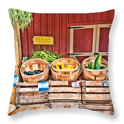 Baskets Throw Pillow featuring the photograph Summer Bounty by Maria Coulson
