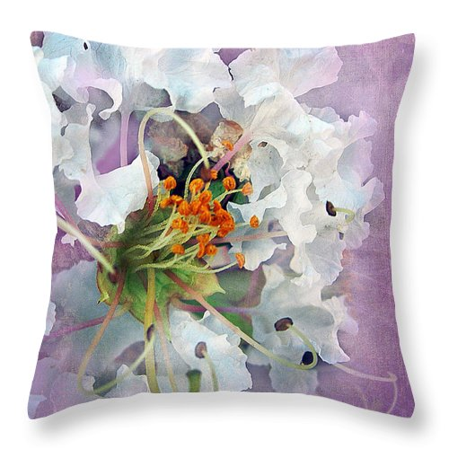 White Throw Pillow featuring the photograph White Crape Myrtle by Judi Bagwell