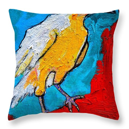 Crow Throw Pillow featuring the painting White Crow by Ana Maria Edulescu