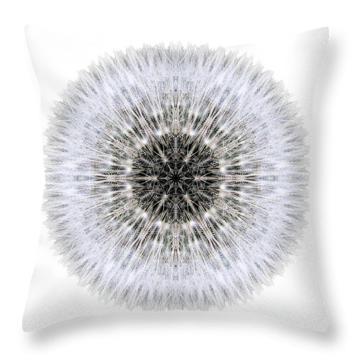 Dandelion Head Throw Pillow featuring the photograph Dandelion Head I Flower Mandala White by David J Bookbinder