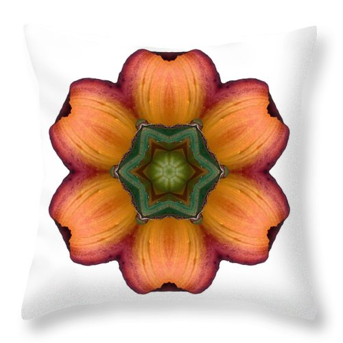 Flower Throw Pillow featuring the photograph Daylily I Flower Mandala White by David J Bookbinder