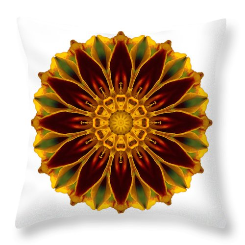 Flower Throw Pillow featuring the photograph Deep Orange Marigold V Flower Mandala White by David J Bookbinder