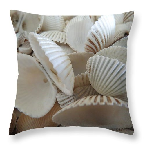 Landscape Throw Pillow featuring the photograph White Double Ark Shells by Ellen Meakin