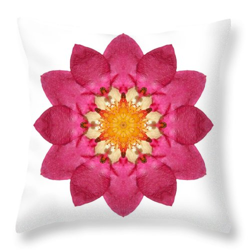 Flower Throw Pillow featuring the photograph Fragaria Pink Panda I Flower Mandala White by David J Bookbinder