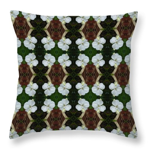 White Throw Pillow featuring the photograph White Geranium Pattern by Nicki Bennett
