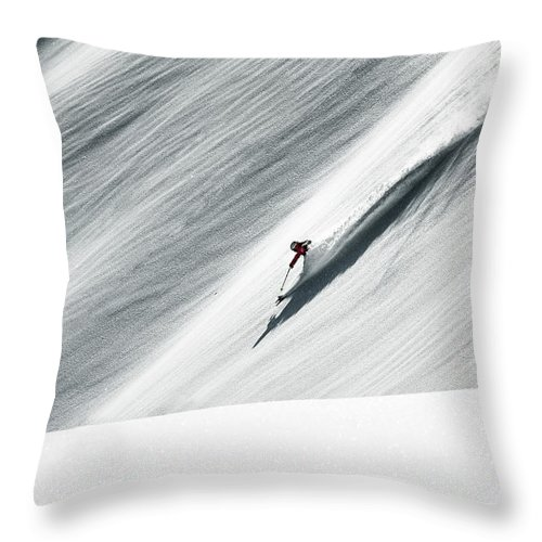 Skiing Throw Pillow featuring the photograph White Gold by Andre Schoenherr