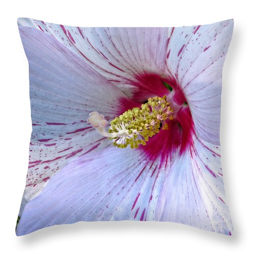 White Throw Pillow featuring the photograph White Hibiscus Beauty by Ella Kaye Dickey