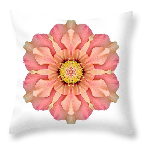 Flower Throw Pillow featuring the photograph Hibiscus Rosa-sinensis I Flower Mandala White by David J Bookbinder