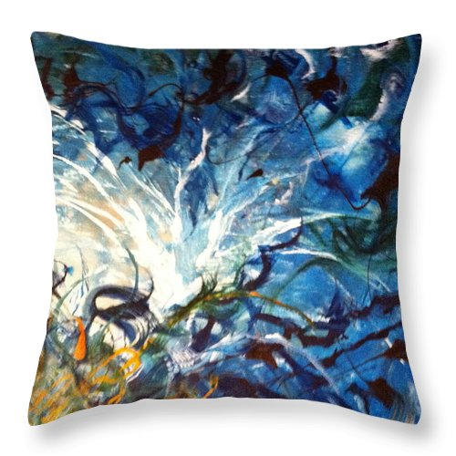 White Throw Pillow featuring the painting White Hot Off Center by Tori Pollock