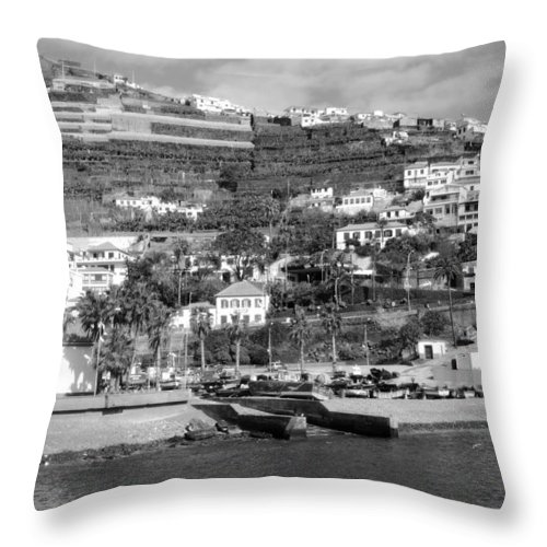 Funchal Throw Pillow featuring the photograph White Houses by Tracy Winter