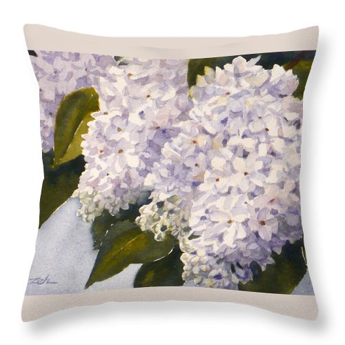 Lilacs Art Print Throw Pillow featuring the painting White Lilacs by Janet Zeh