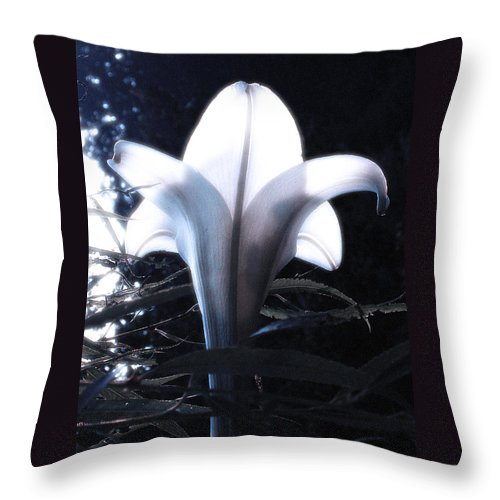 Lily Throw Pillow featuring the photograph White Lily By Jan Marvin by Jan Marvin