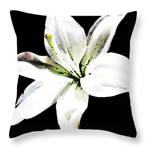 Lily Throw Pillow featuring the painting White Lily - Elegant Black And White Floral Art By Sharon Cummings by Sharon Cummings