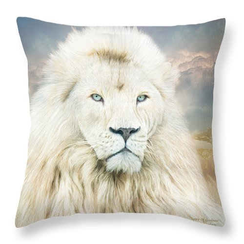 Lion Throw Pillow featuring the mixed media White Lion - Spirit Of Goodness by Carol Cavalaris
