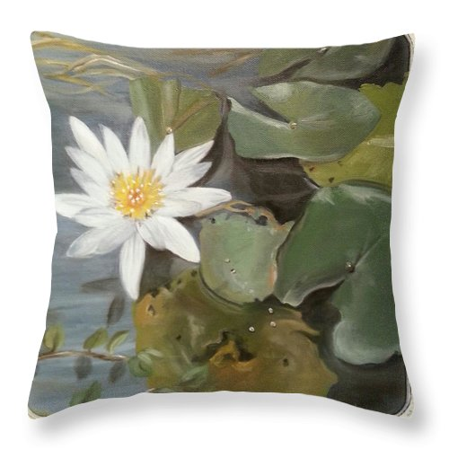 Lotus Throw Pillow featuring the painting White Lotus by Linda Lopez
