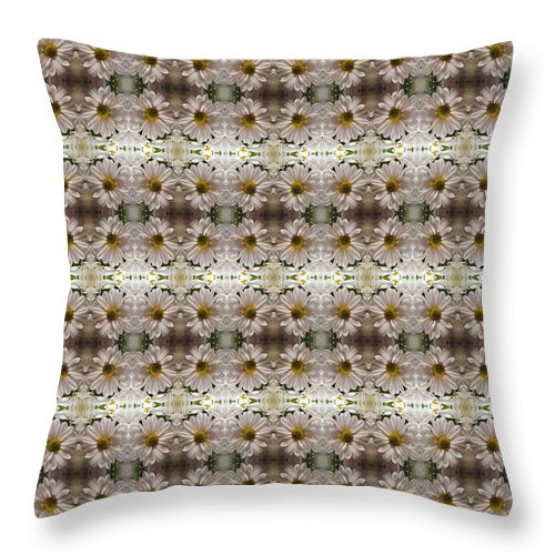 White Throw Pillow featuring the photograph White Mums Design by Nicki Bennett