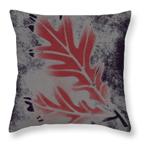 Leaf Throw Pillow featuring the digital art White Oak Leaf by Lovina Wright