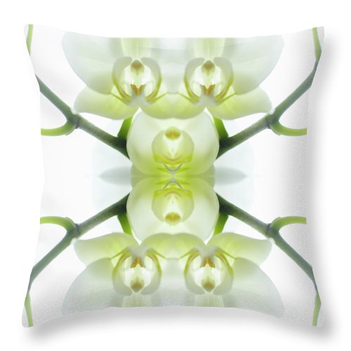 Tranquility Throw Pillow featuring the photograph White Orchid With Stems by Silvia Otte