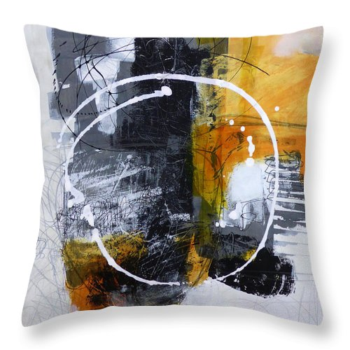 Keywords: Abstract Throw Pillow featuring the painting White Out 3 by Jane Davies