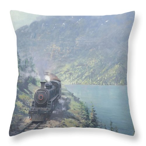 White Pass Throw Pillow featuring the painting White Pass And Yukon Railroad by Richard Picton