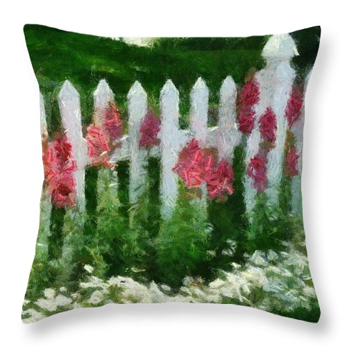 Digital Throw Pillow featuring the digital art White Picket Fence by Carol Sullivan