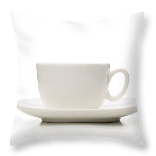 Beverage Throw Pillow featuring the photograph White Porcelain Coffee Cup by Alain De Maximy