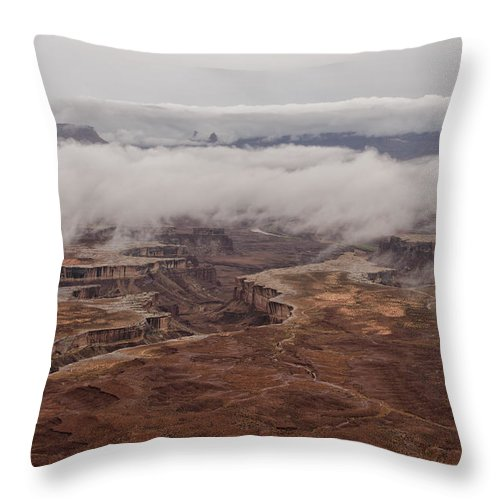 Summer Throw Pillow featuring the photograph White Rim In The Rain by Charlie Choc