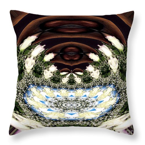 Baby's Breath Throw Pillow featuring the photograph White Roses And Babys Breath Polar Coordinates Effect by Rose Santuci-Sofranko