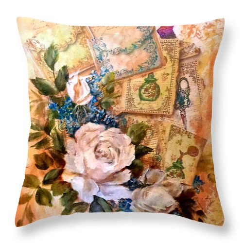 Roses Throw Pillow featuring the painting White Roses And Forget Me Nots On Decoupaged Background by Patricia Rachidi