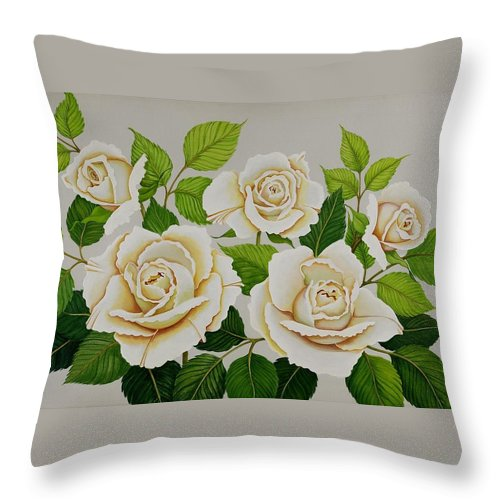 Rose Throw Pillow featuring the painting White Roses by Carol Sabo