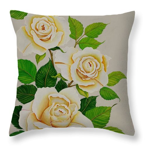White Roses With Yellow Shading On A White Background. Throw Pillow featuring the painting White Roses - Vertical by Carol Sabo