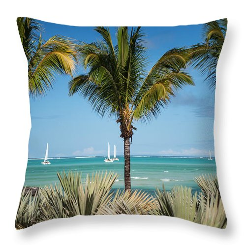 Ocean Throw Pillow featuring the photograph White Sails. Mauritius by Jenny Rainbow