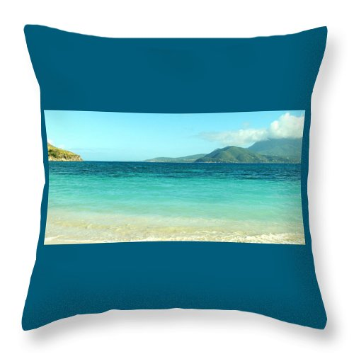 St Kitts Throw Pillow featuring the photograph White Sand Blue Sky Blue Water by Ian MacDonald