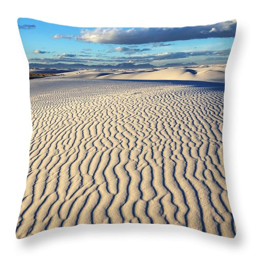 Alamagordo Throw Pillow featuring the photograph White Sands Of New Mexico by Bob Christopher