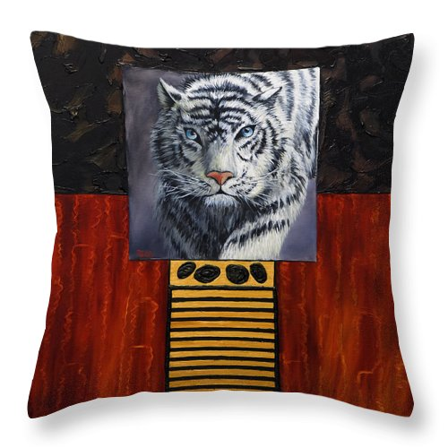 Animal Throw Pillow featuring the painting White Tiger by Darice Machel McGuire