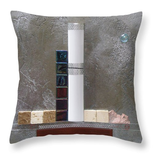 Assemblage Throw Pillow featuring the relief White Tower by Elaine Booth-Kallweit
