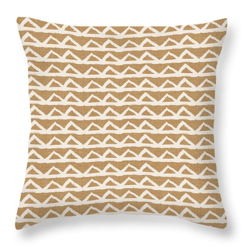 Triangles Throw Pillow featuring the mixed media White Triangles On Burlap by Linda Woods
