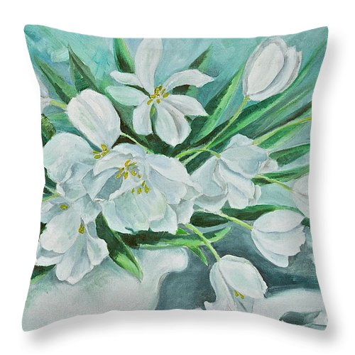 White Tulips Throw Pillow featuring the painting White Tulips by Virginia Ann Hemingson